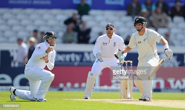 New Zealand batsman Doug Bracewell is caught by Ian Bell as Matt Prior looks on during day three of 2nd Investec Test match between England and New...