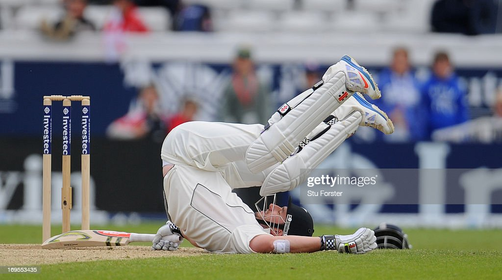 New Zealand batsman Hamish Rutherford ends up on the floor during day four of 2nd Investec Test match between England and New Zealand at Headingley...