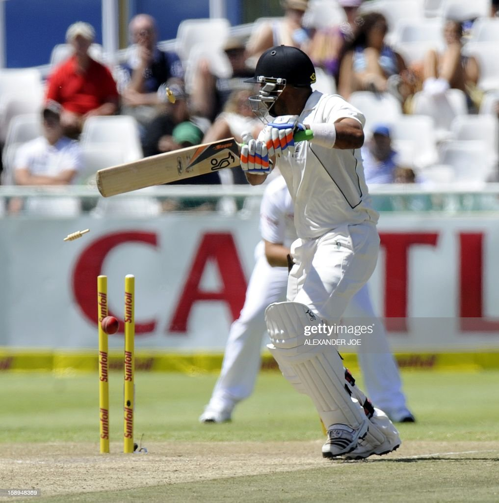 New Zealand batsman Jeetan Patel is cleaned bowled during day 3 of the first Test match between South Africa and New Zealand in Cape Town at Newlands on January 4, 2013. AFP PHOTO / ALEXANDER JOE