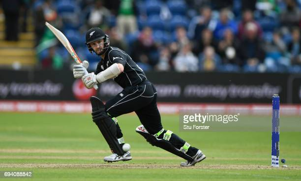 New Zealand batsman Kane Williamson hits out during the ICC Champions Trophy match between New Zealand and Bangladesh at SWALEC Stadium on June 9...
