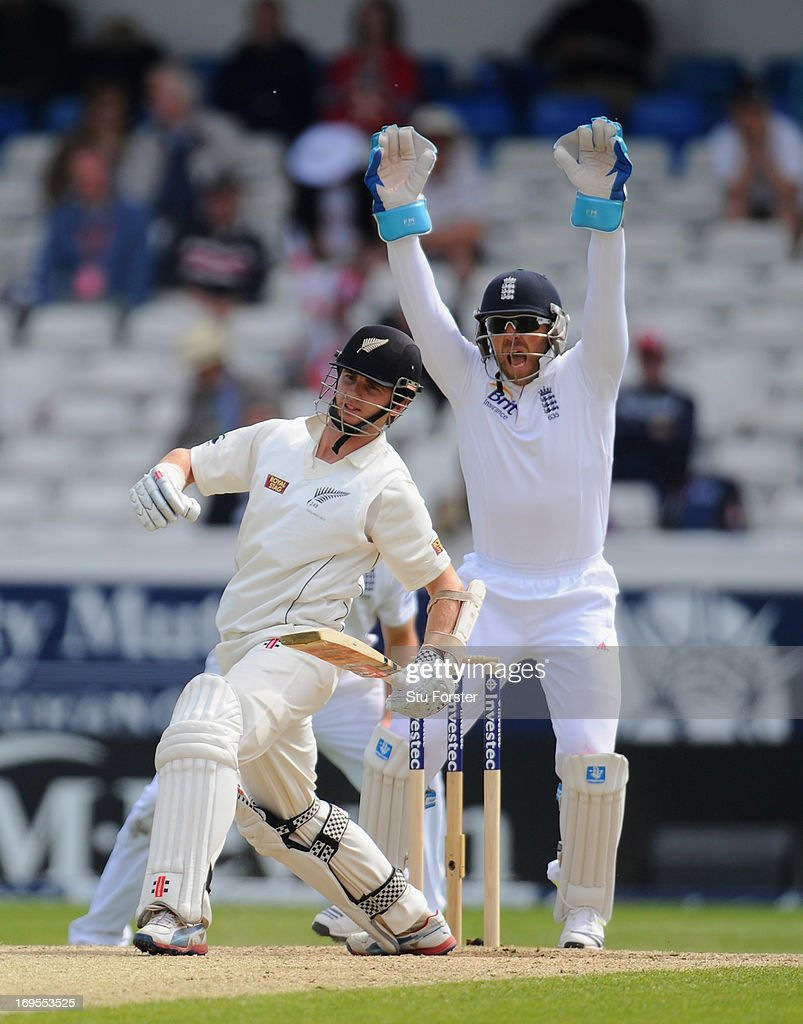 New Zealand batsman <a gi-track='captionPersonalityLinkClicked' href=/galleries/search?phrase=Kane+Williamson&family=editorial&specificpeople=4738503 ng-click='$event.stopPropagation()'>Kane Williamson</a> reacts as wicketkeeper <a gi-track='captionPersonalityLinkClicked' href=/galleries/search?phrase=Matt+Prior+-+Cricket+Player&family=editorial&specificpeople=13652111 ng-click='$event.stopPropagation()'>Matt Prior</a> appeals before being given out lbw off the bowling of Graeme Swann during day four of 2nd Investec Test match between England and New Zealand at Headingley on May 27, 2013 in Leeds, England.