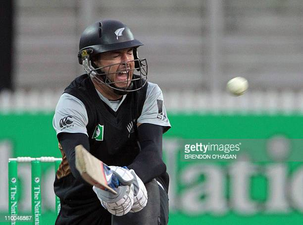 New Zealand batsman Peter McGlashan plays a shot off the Pakistan bowling during their second Twenty20 cricket match at Seddon Park in Hamilton on...
