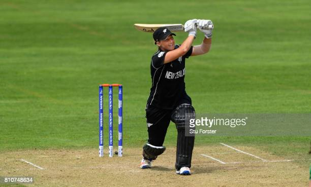 New Zealand batsman Sophie Devine hits out during the ICC Women's World Cup 2017 match between New Zealand and Pakistan at The Cooper Associates...