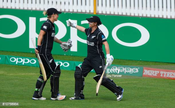 New Zealand batsman Sophie Devine is congratulated by team mate Katey Martin after being dismissed for 93 runs during the ICC Women's World Cup 2017...