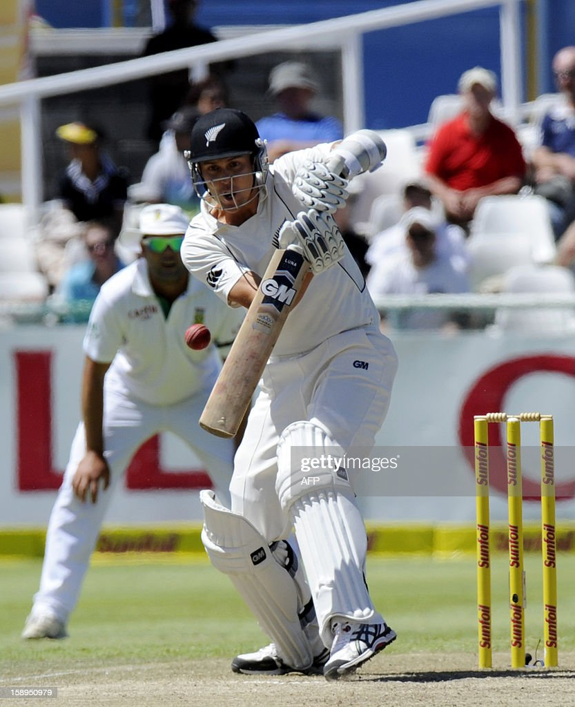 New Zealand batsman Trent Boult plays a shot during day 3 of the first Test match between South Africa and New Zealand, in Cape Town at Newlands, on January 4, 2013. South Africa won the 5 day Test in 3 days.