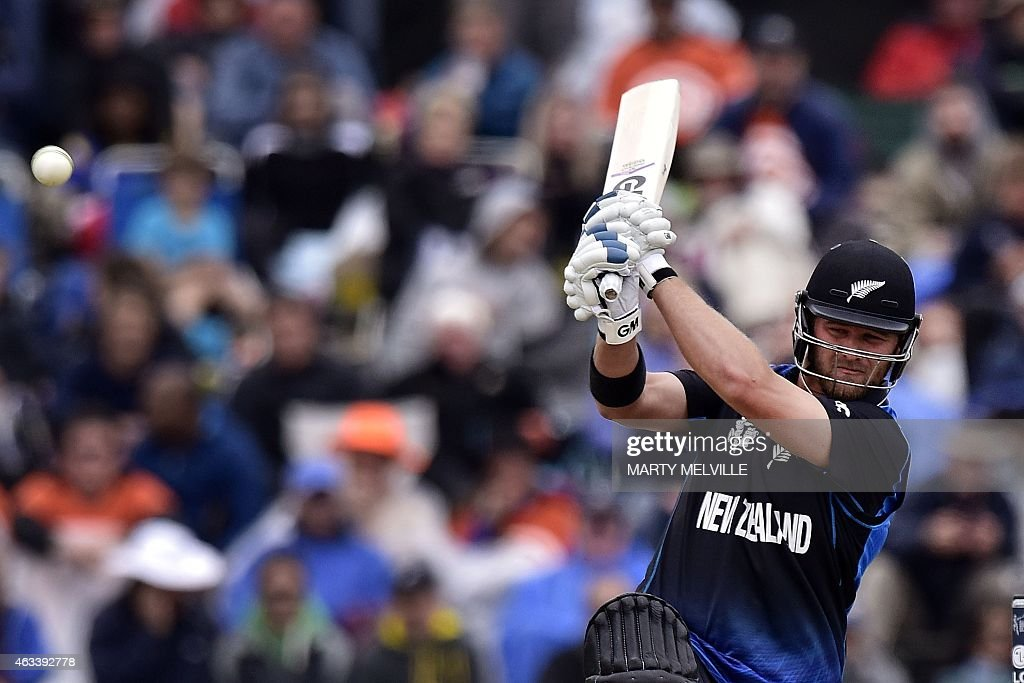 New Zealand batter <a gi-track='captionPersonalityLinkClicked' href=/galleries/search?phrase=Corey+Anderson+-+Cricket+Player&family=editorial&specificpeople=12457249 ng-click='$event.stopPropagation()'>Corey Anderson</a> plays a shot during the Pool A 2015 Cricket World Cup match between Sri Lanka and New Zealand at Hagley Oval in Christchurch on February 14, 2015.