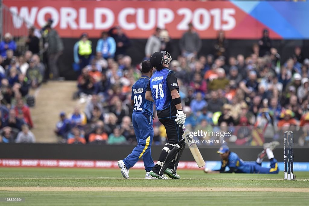New Zealand batter <a gi-track='captionPersonalityLinkClicked' href=/galleries/search?phrase=Corey+Anderson+-+Cricket+Player&family=editorial&specificpeople=12457249 ng-click='$event.stopPropagation()'>Corey Anderson</a> (C) reacts to being caught out by Sri Lanka's <a gi-track='captionPersonalityLinkClicked' href=/galleries/search?phrase=Suranga+Lakmal&family=editorial&specificpeople=5742345 ng-click='$event.stopPropagation()'>Suranga Lakmal</a> (R) as bowler <a gi-track='captionPersonalityLinkClicked' href=/galleries/search?phrase=Nuwan+Kulasekara&family=editorial&specificpeople=608308 ng-click='$event.stopPropagation()'>Nuwan Kulasekara</a> (L) looks on, during the Pool A 2015 Cricket World Cup match between Sri Lanka and New Zealand at Hagley Oval in Christchurch on February 14, 2015.