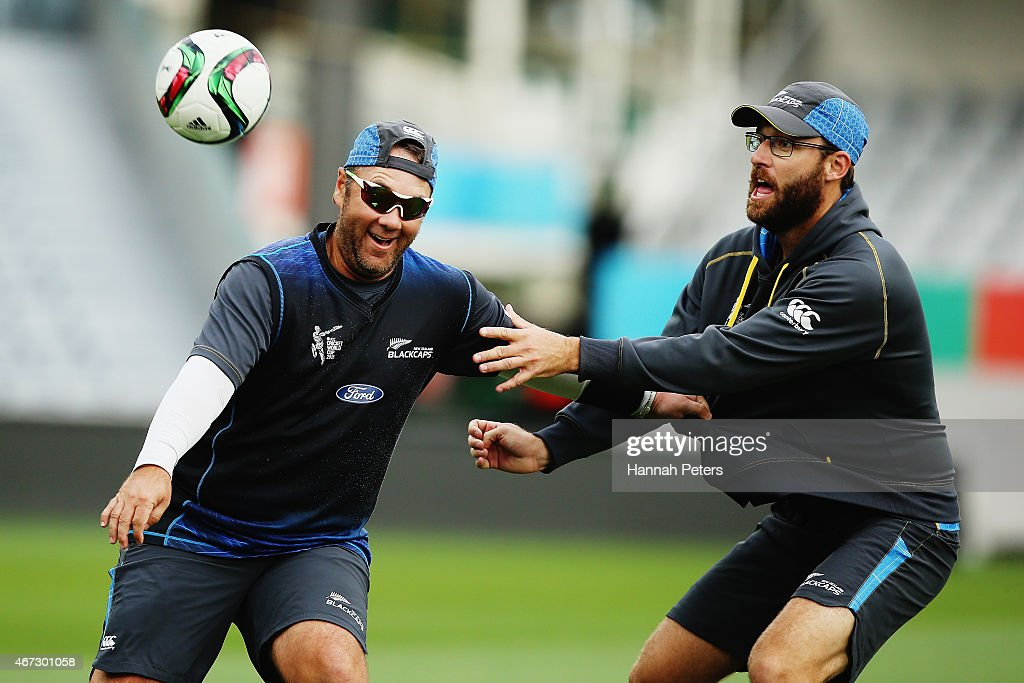 New Zealand batting coach Craig McMillan warms up with Daniel Vettori of New Zealand during a New Zealand nets session at Eden Park on March 23 2015...
