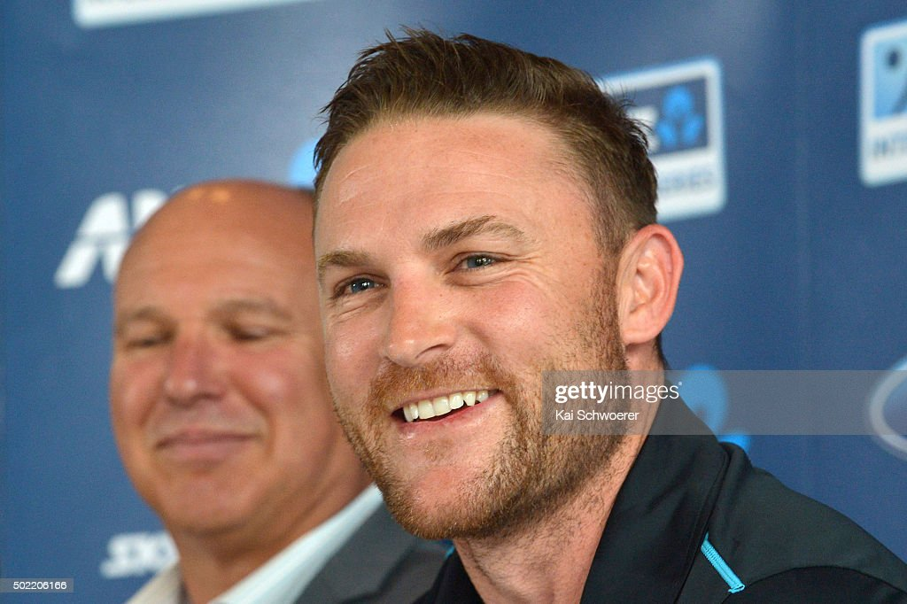 New Zealand Black Caps captain <a gi-track='captionPersonalityLinkClicked' href=/galleries/search?phrase=Brendon+McCullum&family=editorial&specificpeople=208154 ng-click='$event.stopPropagation()'>Brendon McCullum</a> speaks during a press conference to announce his retirement from all international cricket at the end of this summer on December 22, 2015 in Christchurch, New Zealand. The 34 year old will play a world-record 100th consecutive test for New Zealand when the Black Caps face Australia at the Basin Reserve on February 12, 2016.