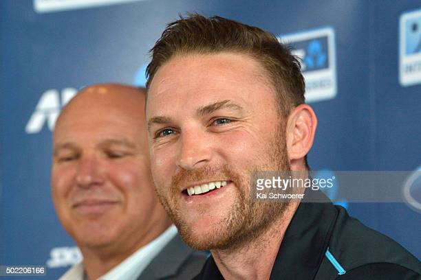 New Zealand Black Caps captain Brendon McCullum speaks during a press conference to announce his retirement from all international cricket at the end...