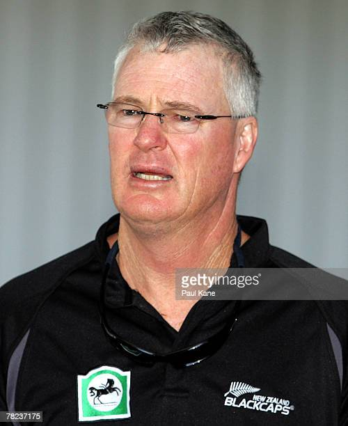 New Zealand Black Caps coach John Bracewell walks through the arrivals hall as the New Zealand Black Caps arrive in Australia at Perth International...