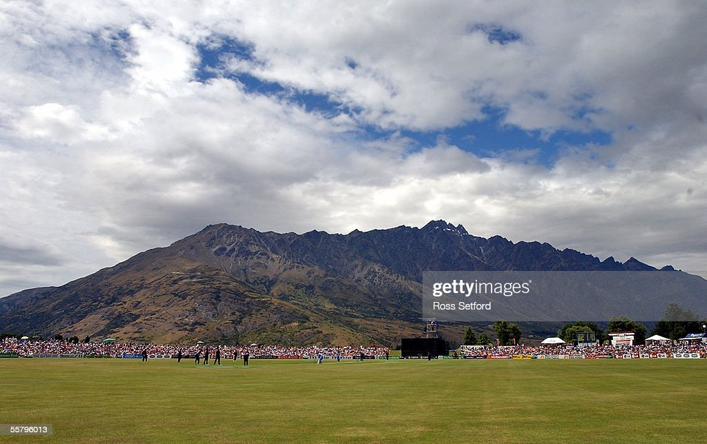 New Zealand Black Caps play India at the foot of the Remarkables in the fourth one day international cricket match at the Queenstown Event Centre New...