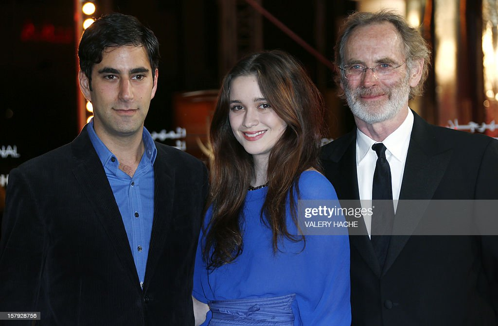 New Zealand born Actress Alice Englert (C) poses with actor Andrew Litvin (L) and film director Christopher Sheppard (R) as they arrive at the 12th Marrakesh International Film Festival on December 7, 2012, in Marrakesh.