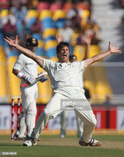 New Zealand bowler Hamish Bennett appeals unsucessfully aganist Gautam Gambhir during the first Test match between Indian and New Zealand at Sardar...
