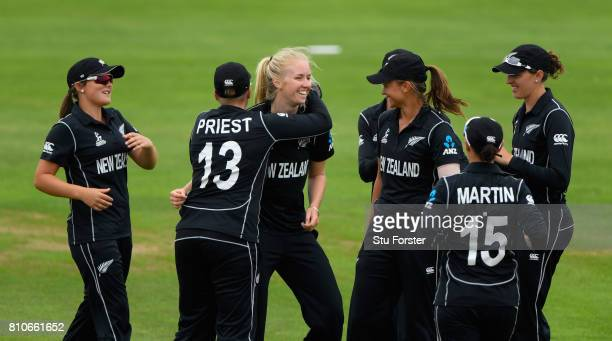 New Zealand bowler Hannah Rowe celebrates withg team mates after dismissing Pakistan batsman Nain Abidi during the ICC Women's World Cup 2017 match...