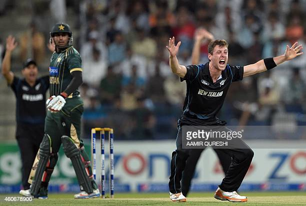 New Zealand bowler Matt Henry lauds a successful leg before wicket appeal against Pakistani batsman Nasir Jamshed during the fifth and final daynight...
