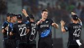 New Zealand bowler Mitchell McClenaghan celebrates the wicket of Sri Lanka batsman Angelo Mathews with teammates during the ICC World Twenty20...