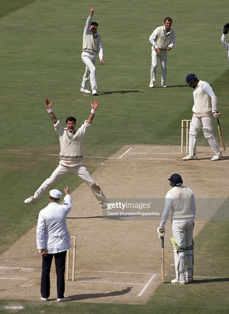 New Zealand bowler Sir Richard Hadlee's 431st, and last, Test wicket as umpire Barrie Meyer gives Devon Malcolm out LBW for 0 on the fourth day of the 3rd Test match between England and New Zealand at Edgbaston in Birmingham, 9th July 1990. England won by 114 runs.