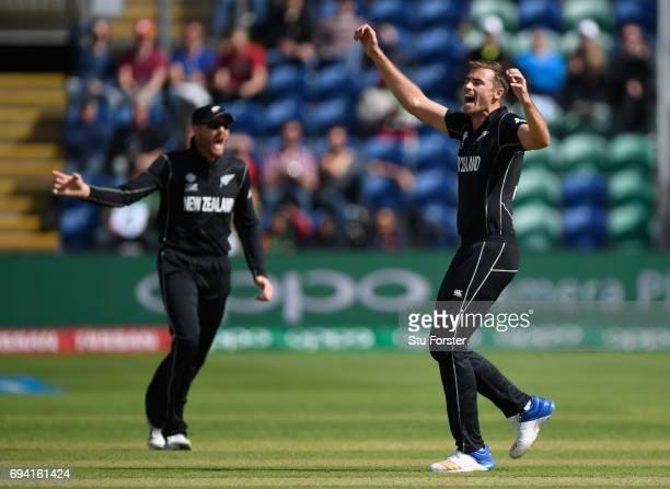 New Zealand bowler Tim Southee celebrates dismissing Bangladesh batsman Soumya Sarkar during the ICC Champions Trophy match between New Zealand and...