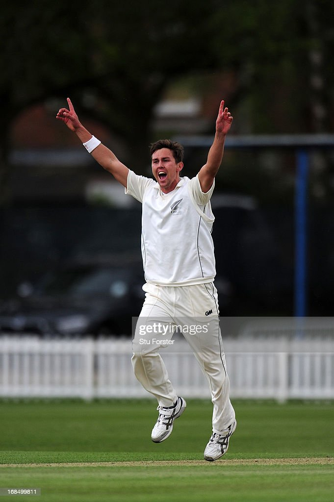 New Zealand bowler Trent Boult appeals for a wicket during day two of the tour match between England Lions and New Zealand at Grace Road on May 10, 2013 in Leicester, England.