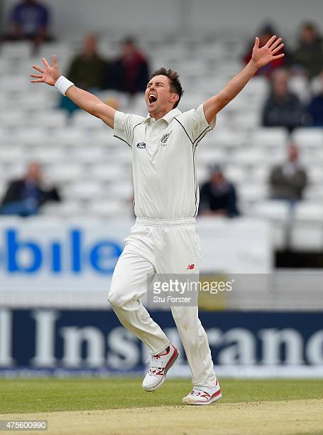New Zealand bowler Trent Boult celebrates after dismissing Adam Lyth during day five of the 2nd Investec test match between England and New Zealand...