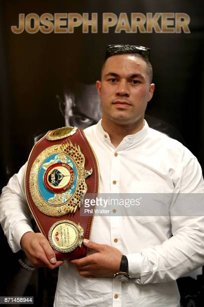 New Zealand boxer Joseph Parker speaks to the media during a press conference at Duco Events Office on November 8 2017 in Auckland New Zealand