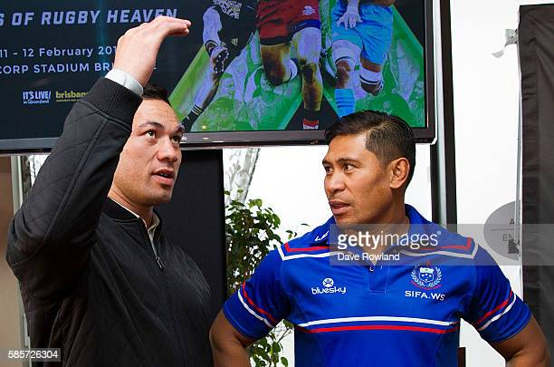 New Zealand Boxer Joseph Parker speaks with Samoa Rugby Coach Alama Ieremia during the Rugby 10's Launch at Spencer on Byron Hotel on August 4 2016...