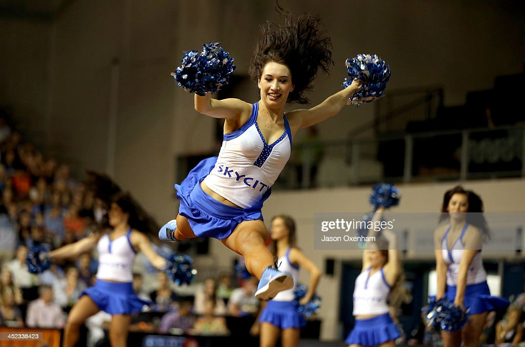 A New Zealand Breakers cheer girl inaction during the round eight NBL match between the New Zealand Breakers and the Melbourne Tigers at North Shore Events Centre on November 28, 2013 in Auckland, New Zealand.
