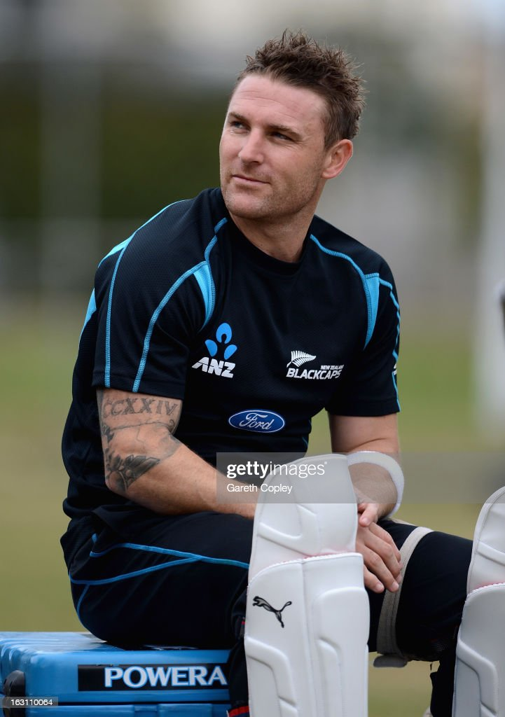 New Zealand captain <a gi-track='captionPersonalityLinkClicked' href=/galleries/search?phrase=Brendon+McCullum&family=editorial&specificpeople=208154 ng-click='$event.stopPropagation()'>Brendon McCullum</a> during an nets session at the University Oval on March 5, 2013 in Dunedin, New Zealand.