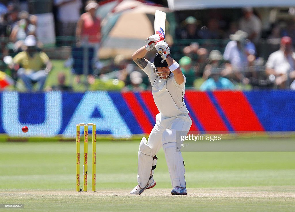 New Zealand captain Brendon McCullum leaves a delivery on January 13, 2013 during the third day of the second and final Test against South Africa at St George's Park in Port Elizabeth. AFP PHOTO / Anesh Debiky