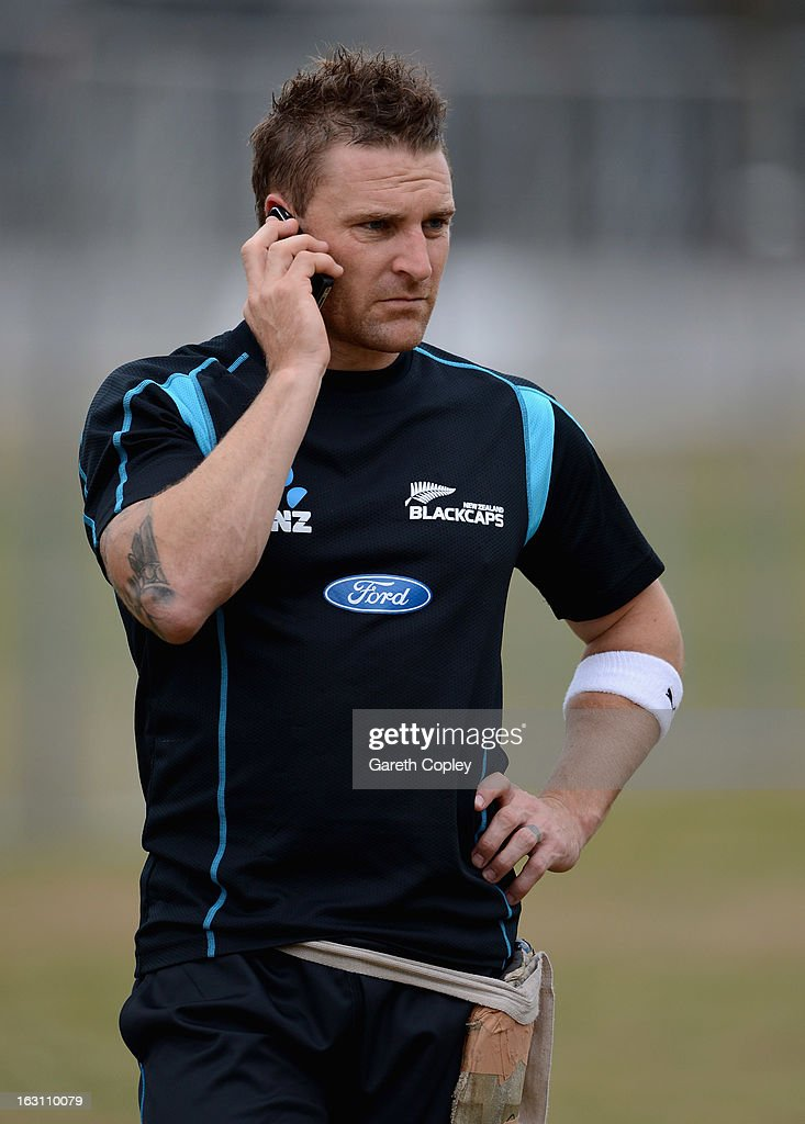 New Zealand captain Brendon McCullum makes a phonecall during an nets session at the University Oval on March 5, 2013 in Dunedin, New Zealand.