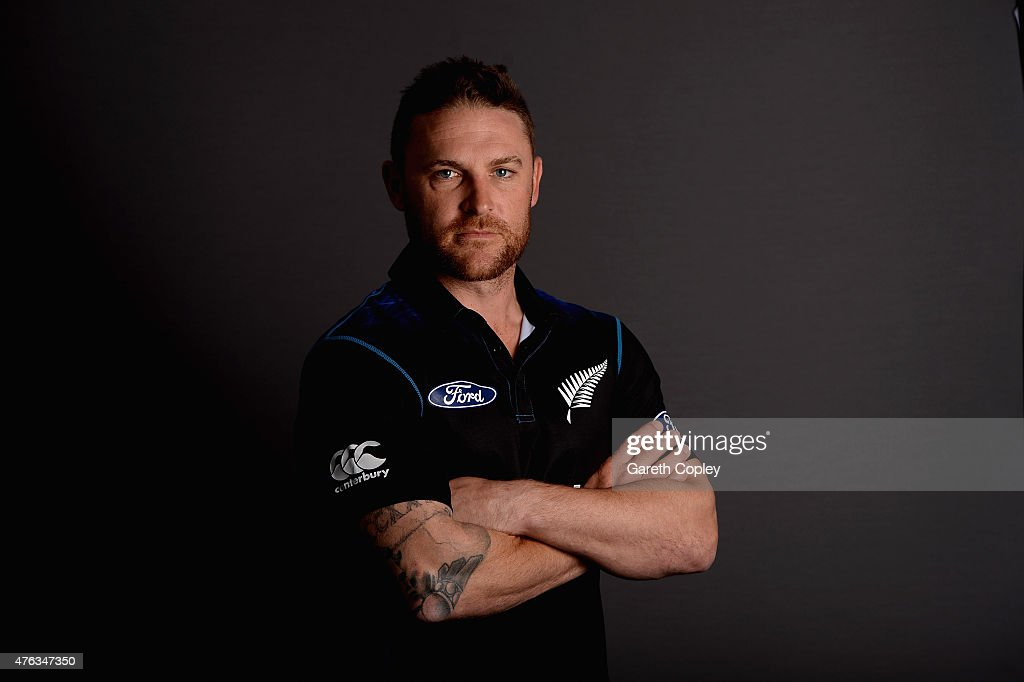 New Zealand captain <a gi-track='captionPersonalityLinkClicked' href=/galleries/search?phrase=Brendon+McCullum&family=editorial&specificpeople=208154 ng-click='$event.stopPropagation()'>Brendon McCullum</a> poses for a portrait at Edgbaston on June 8, 2015 in Birmingham, England.