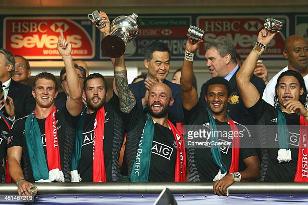 New Zealand captain D J Forbes and team mates celebrates winning the Cup Final between England and New Zealand during the 2014 Hong Kong Sevens at...