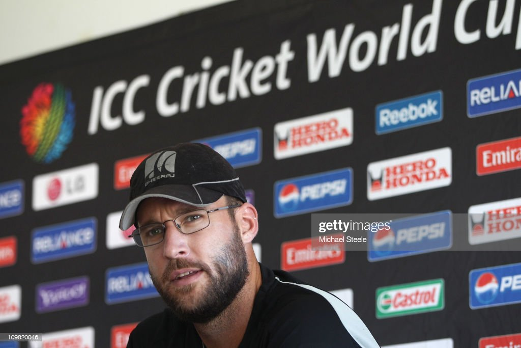 New Zealand captain Daniel Vettori addresses the press ahead of a training session at the Pallekele Cricket Stadium on March 7 2011 in Kandy Sri Lanka