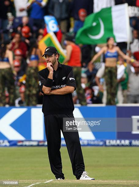 New Zealand captain Daniel Vettori looks on during the Twenty20 Cup Semi Final match between New Zealand and Pakistan at Newlands Cricket Ground on...