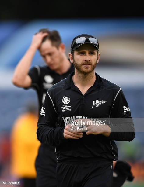 New Zealand captain Kane Williamson leads his team off the field after the ICC Champions Trophy match between New Zealand and Bangladesh at SWALEC...