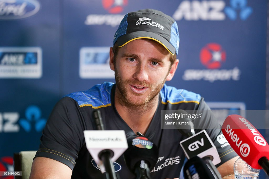 New Zealand captain Kane Williamson speaking after a nets session at Hagley Oval on November 16, 2016 in Christchurch, New Zealand.