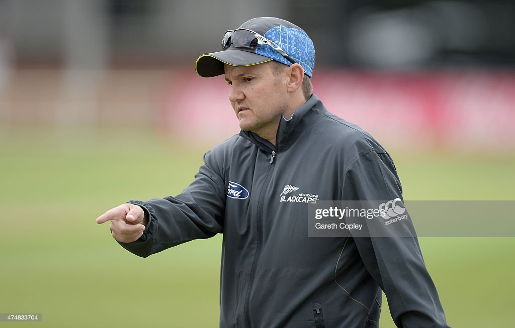 New Zealand captain <a gi-track='captionPersonalityLinkClicked' href=/galleries/search?phrase=Mike+Hesson&family=editorial&specificpeople=9567309 ng-click='$event.stopPropagation()'>Mike Hesson</a> during a nets session at Headingley Cricket Ground on May 27, 2015 in Leeds, United Kingdom.