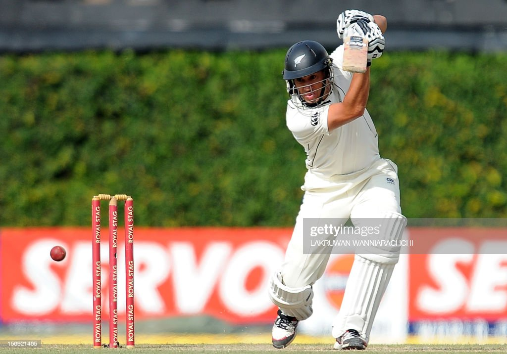 New Zealand captain Ross Taylor plays a shot during the first day of the second and final Test match between Sri Lanka and New Zealand at the P. Sara Oval Cricket Stadium in Colombo on November 25, 2012.
