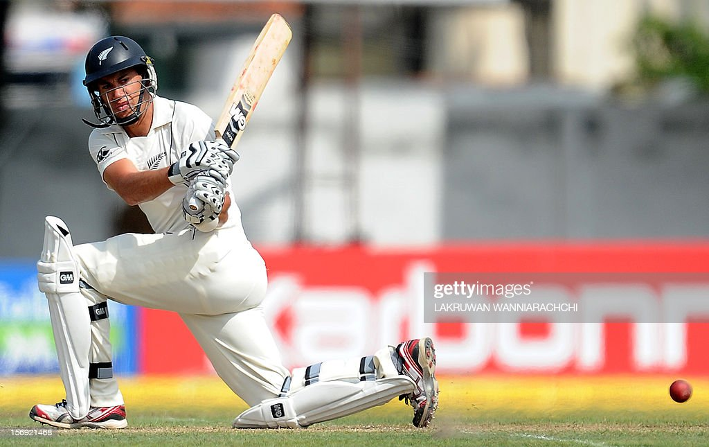 New Zealand captain Ross Taylor plays a shot during the first day of the second and final Test match between Sri Lanka and New Zealand at the P. Sara Oval Cricket Stadium in Colombo on November 25, 2012. AFP PHOTO/ LAKRUWAN WANNIARACHCI