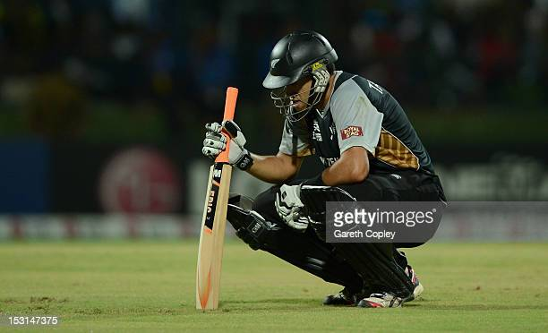 New Zealand captain Ross Taylor reacts during the ICC World Twenty20 2012 Super Eights Group 1 match between the West Indies and New Zealand at...