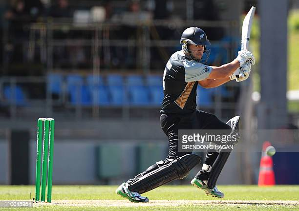 New Zealand captian Ross Taylor plays a shot against Pakistan during the first of their three Twenty20 international cricket matches at Eden Park in...
