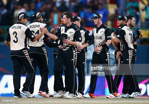New Zealand celebrate after the ICC World Twenty20 India 2016 Super 10s Group 2 match between Australia and New Zealand at HPCA Stadium on March 18...