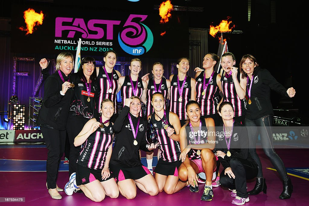 New Zealand celebrate after winning the final match between New Zealand and Australia on day three of the Fast5 Netball World Series at Vector Arena on November 10, 2013 in Auckland, New Zealand.