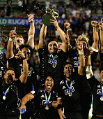 New Zealand celebrate as their captain Atunaisa Moli raises the trophy after their victory during the World Rugby U20 Championship final match...