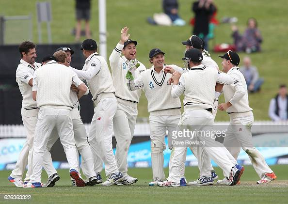 New Zealand celebrate defeating Pakistan on day five of the Second Test match between New Zealand and Pakistan at Seddon Park on November 29 2016 in...
