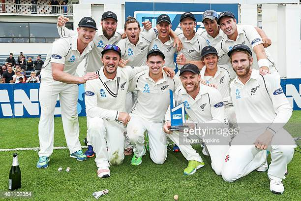 New Zealand celebrate their ANZ Test Series win during day five of the Second Test match between New Zealand and Sri Lanka at Basin Reserve on...