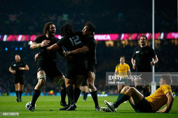 New Zealand celebrate their second try of the game scored by Ma'a Nonu of New Zealand during the 2015 Rugby World Cup Final match between New Zealand...