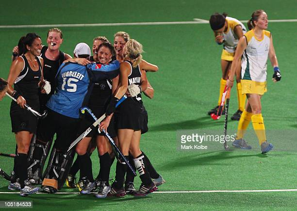 New Zealand celebrate their victory in the Women's Semifinal match between New Zealand and South Africa at Major Dhyan Chand National Stadium at...