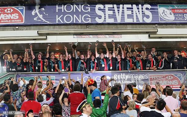 New Zealand celebrate winning the Cup final against England during day three of the 2014 Hong Kong Sevens at Hong Kong International Stadium on March...